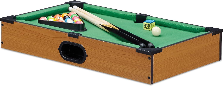Relaxdays Mini Billar de Mesa, Color marrón, 9 x 51 x 31 cm ...