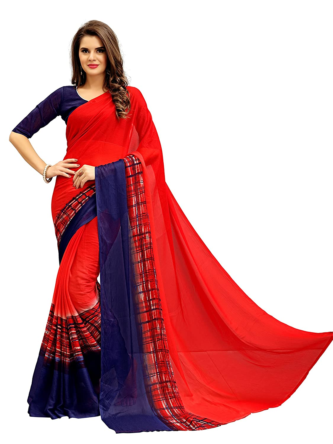 Women's Chiffon Saree With Blouse Piece