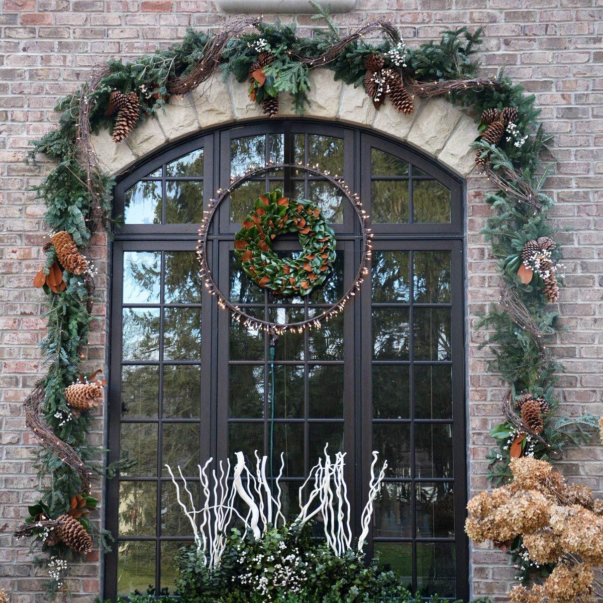 HOMEMAXS Metal Wreath Hanger Over The Door Wreath Holder 4 Packs 13.8inch Larger Wreath Metal Hook for Christmas (Black) by HOMEMAXS (Image #6)