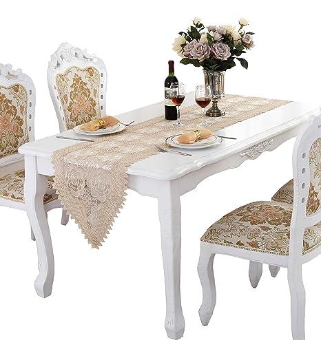 Amazon.com: qxfsmil bordado de flores tela encaje Camino de ...