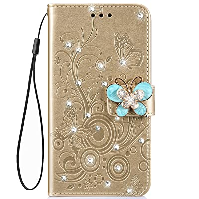 IKASEFU Shiny butterfly Rhinestone Emboss blossom Floral Pu Leather Diamond Bling Wallet Strap Case with Card Holder Magnetic Flip Cover Case Compatible with iPhone 6 plus/6S plus,Gold: Musical Instruments [5Bkhe1105569]