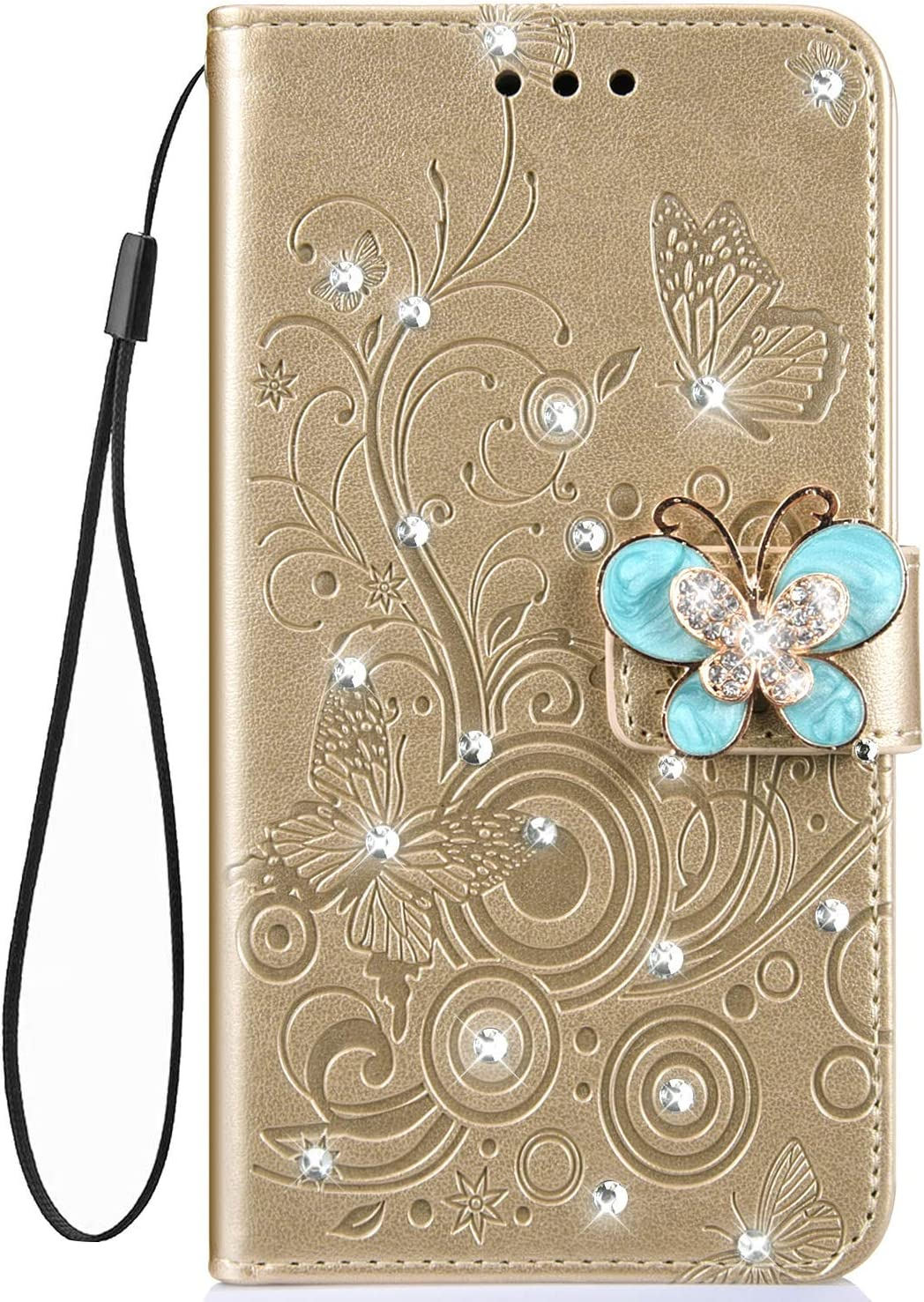 IKASEFU Shiny butterfly Rhinestone Emboss Floral Pu Leather Diamond Bling Wallet Strap Case with Card Holder Magnetic Flip Cover Case Compatible with Samsung Galaxy A6 2018,Gold