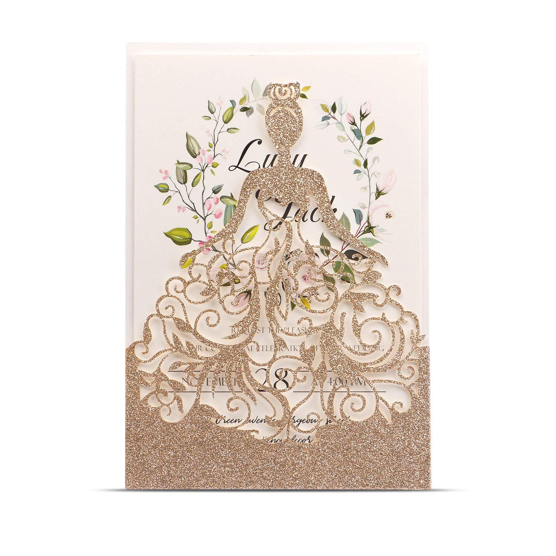 HIGHYI Wedding Invitation Card-Laser Cut Rose Gold Glitter Hollow Bride 25PCS Paper Card Set For Wedding Engagement Birthday Baby Shower Dinner (DIY Blank Inner Sheet)