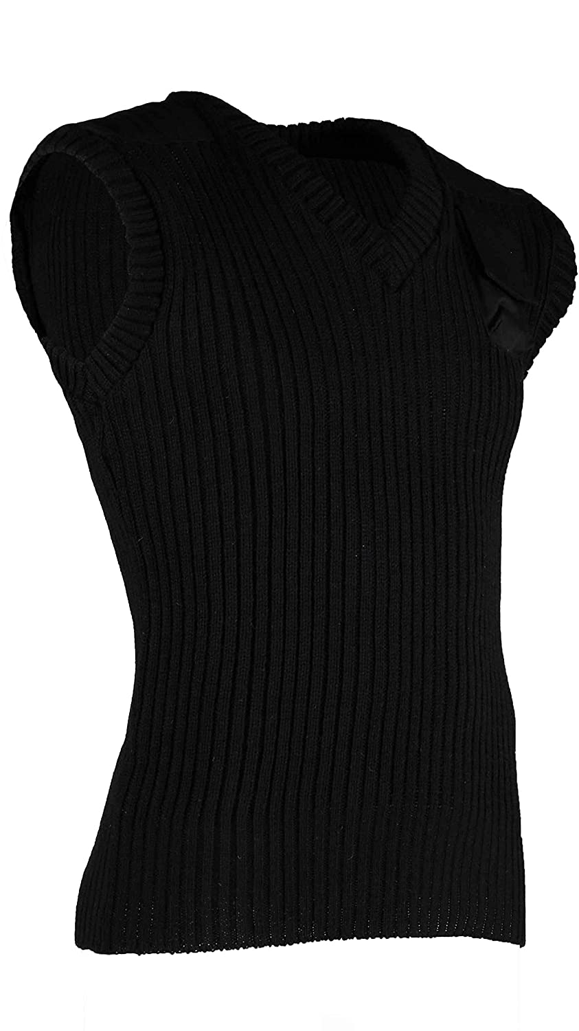 100% Wool Ribbed Slipover. V Neck with shoulder Patches and chest pkt. #13001