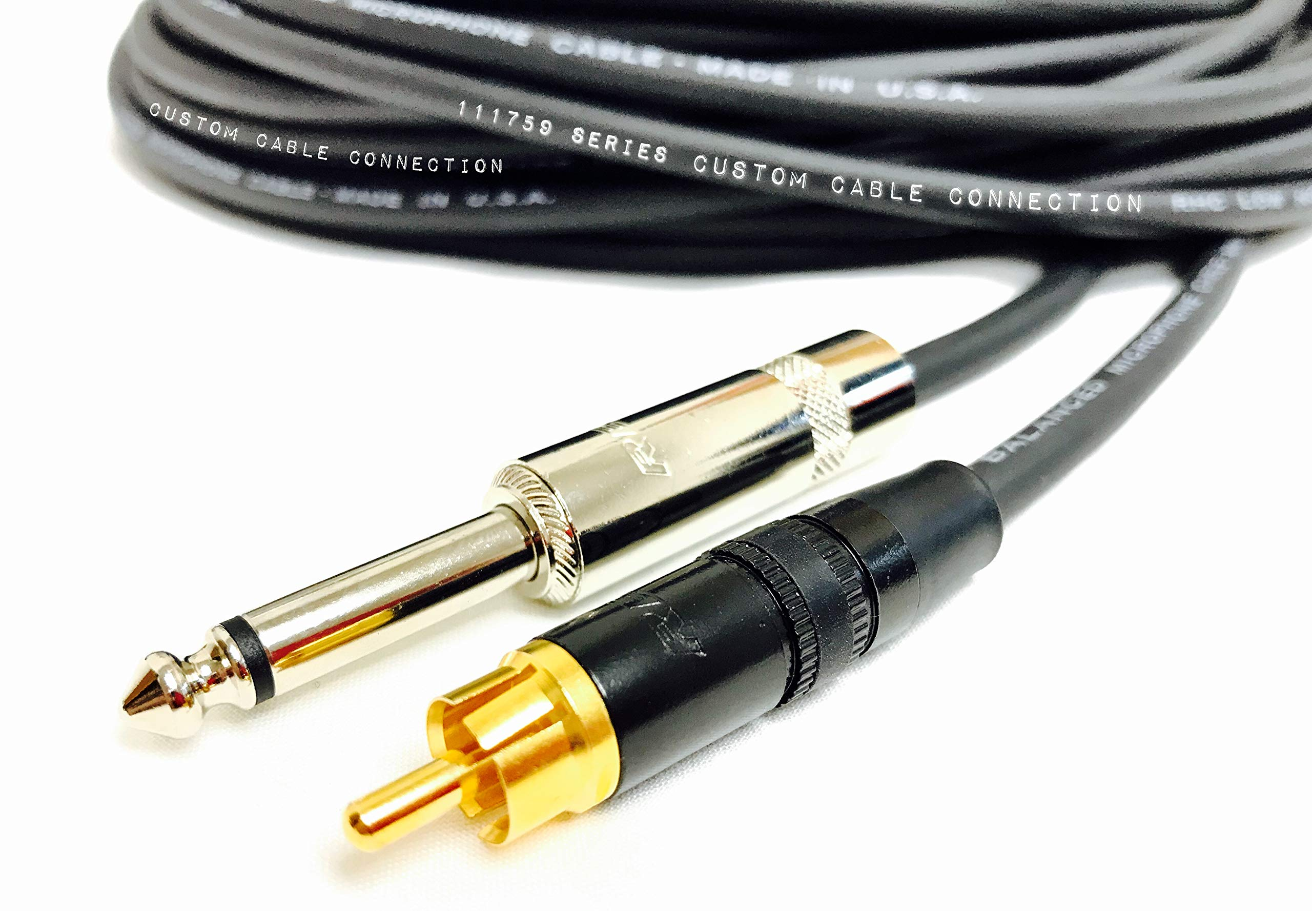 100 Foot Pro Audio 1/4 inch (6.35mm) TS to RCA Mono Cable by Custom Cable Connection