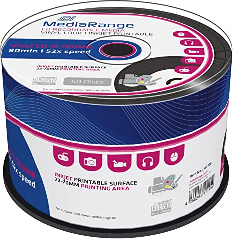 MediaRange MR226 - CD-R Imprimible con aspecto de disco de Vinilo, Pack de 50 unidades: Heatwave: Amazon.es: Informática