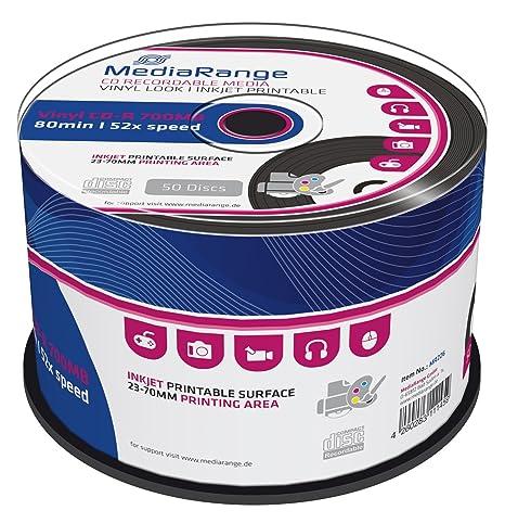 MediaRange MR226 - CD-R Imprimible con aspecto de disco de Vinilo, Pack de 50 unidades