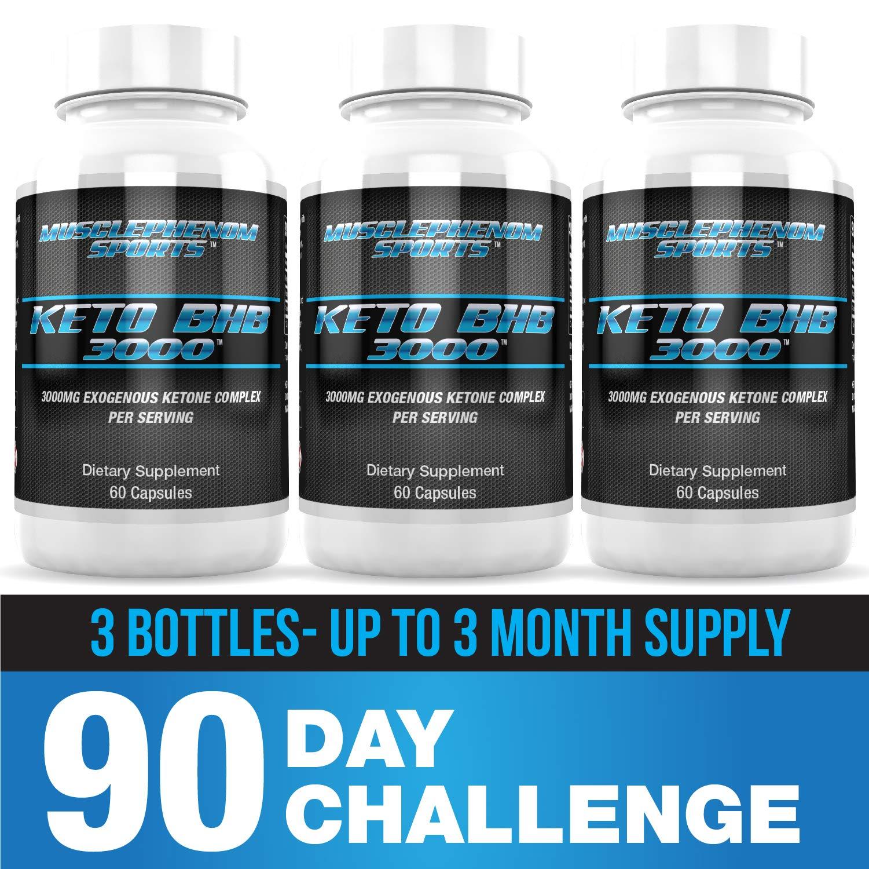 Keto Pills 3000mg bhb Exogenous Ketones, bhb Salts 3 Bottles 180capsules up to 3 Month Supply