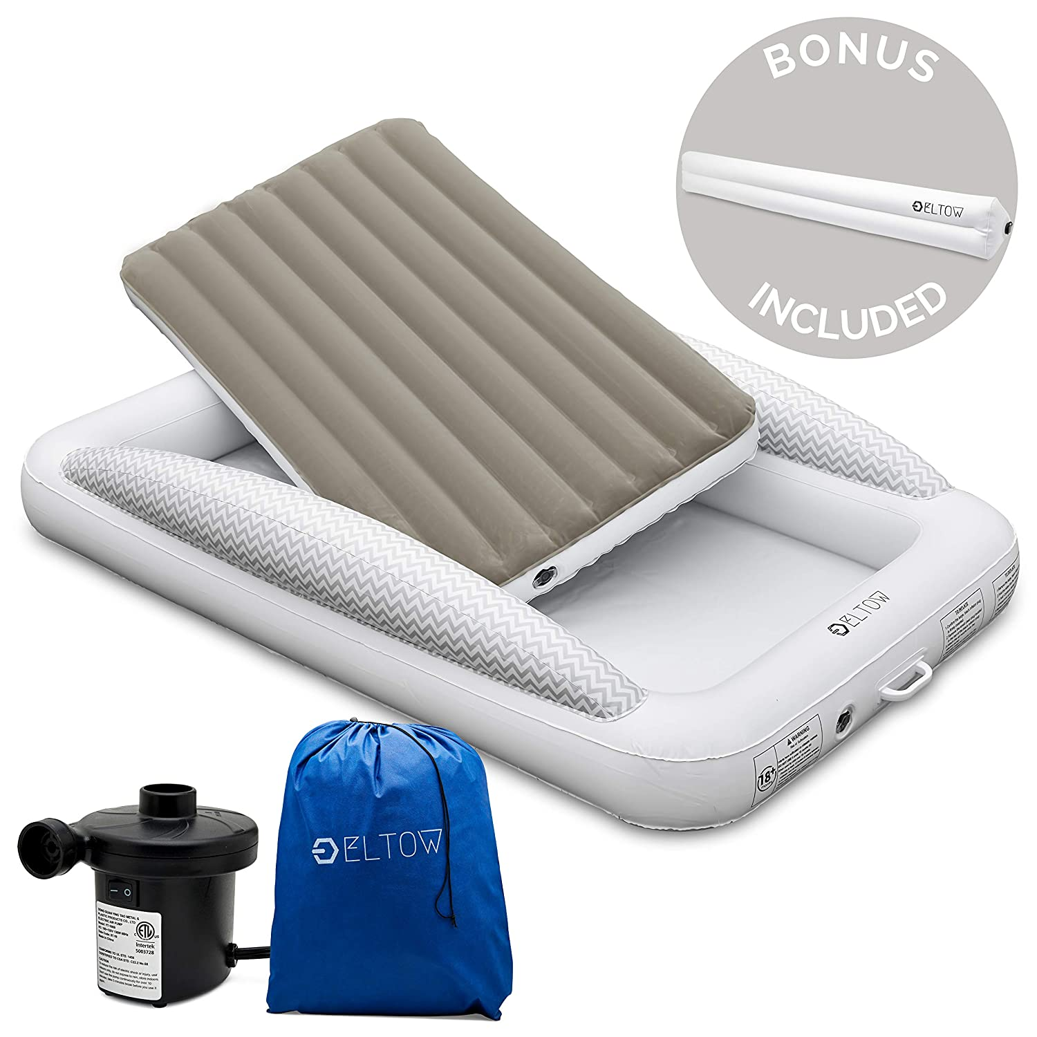 Eltow Inflatable Toddler Air Mattress Bed With Safety Bumper – Portable, Modern Travel Bed, Cot for Toddlers – Perfect For Travel, Camping – Removable Mattress, High Speed Pump and Travel Bag Included