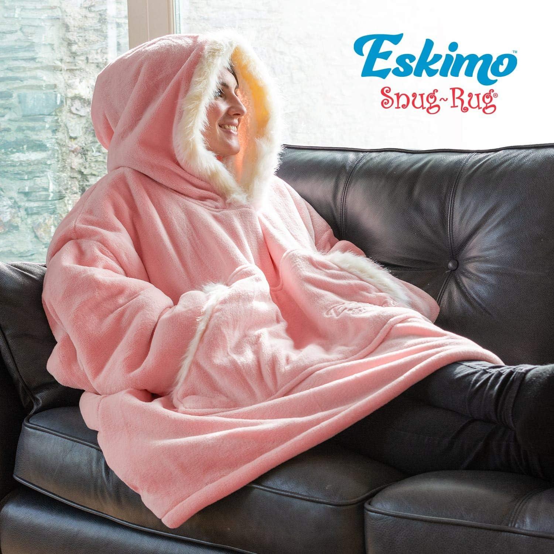 Gris Snug/Rug Eskimo Couverture /à capuche surdimensionn/ée super-douce et chaude en tissu sherpa polaire Taille unique et unisexe taille unique