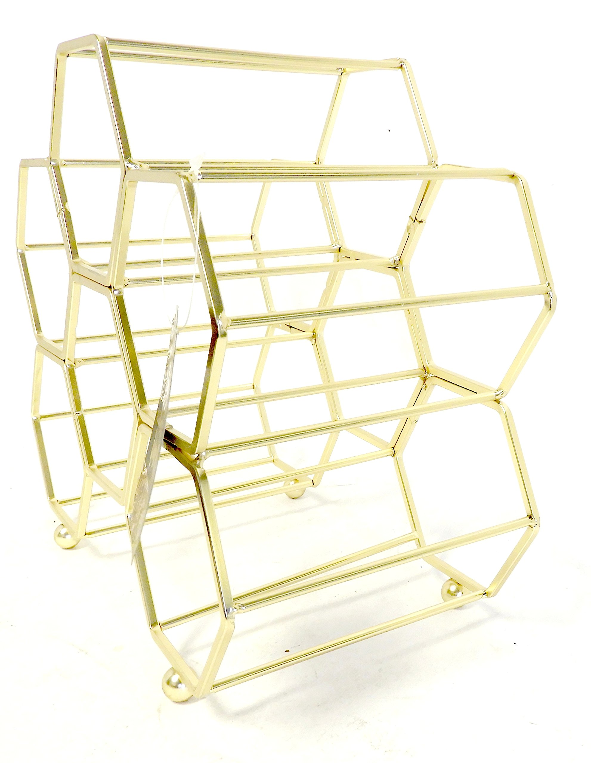DINY Home & Style Hexagonal Free Standing Wine Rack (Gold)