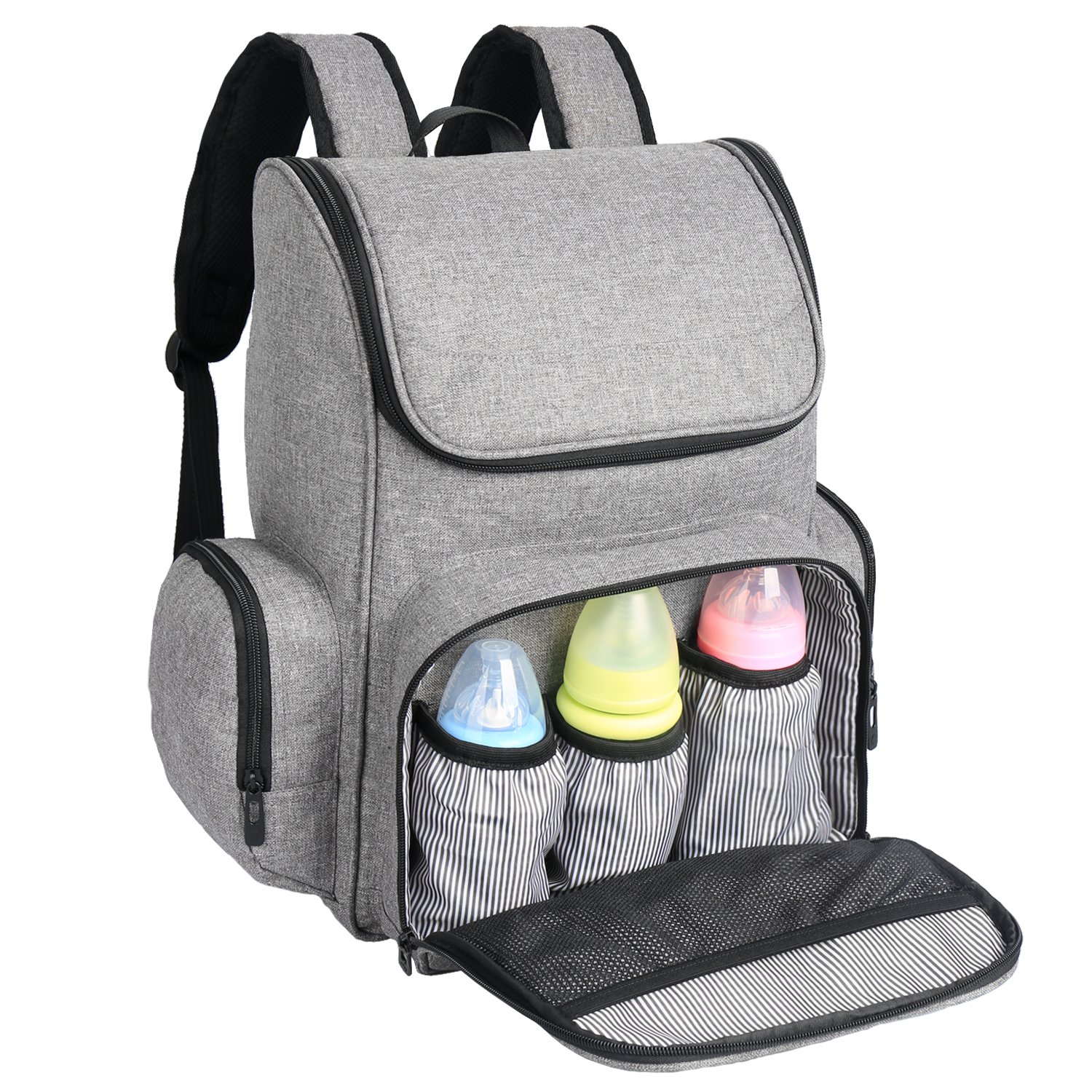 Ferlin Stylish Baby Diaper Bag Backpack Wide Open Design with Stroller Straps and Two Sealed Side Pockets