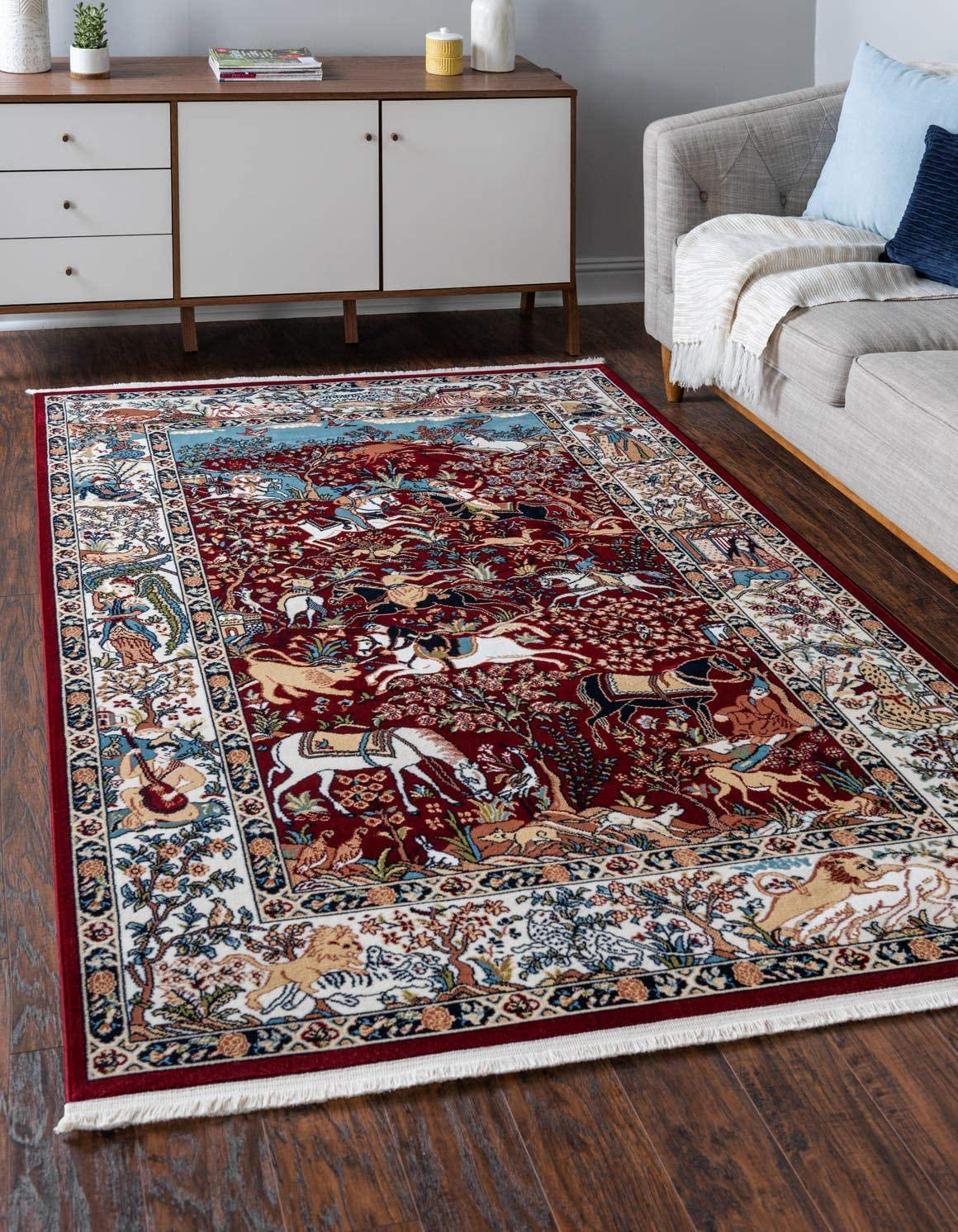 Unique Loom Narenj Collection Classic Traditional Hunting Scene Textured Burgundy Area Rug 5 0 x 8 0