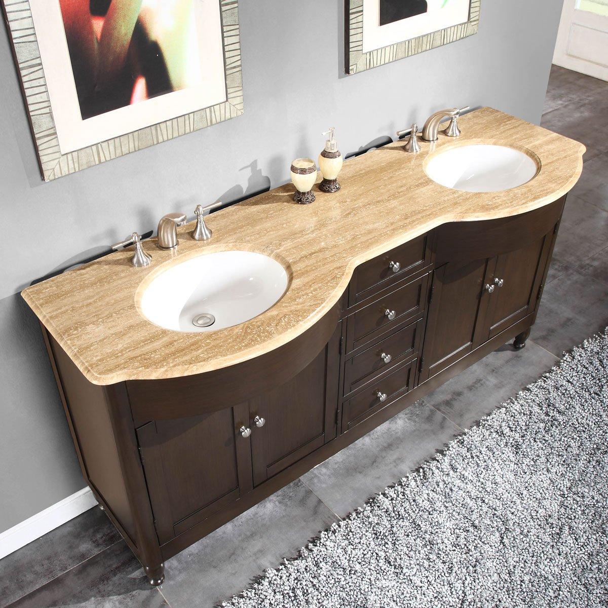 Silkroad Exclusive 72 Inch Travertine Stone Top Bathroom Double Sink