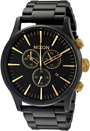 d6b39e0fdc92 Amazon.com  Nixon Sentry SS Classic Men s Watch (Stainless Steel) (Black  and Gold)  Watches
