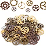 Teenitor 100 Gram Assorted Antique Steampunk Gears Charms Cogs Pendant Clock Watch Wheel Gear for Crafting Jewelry Making Accessory Bronze Copper Gold & Silver Mixed Color (Approx 70pcs)