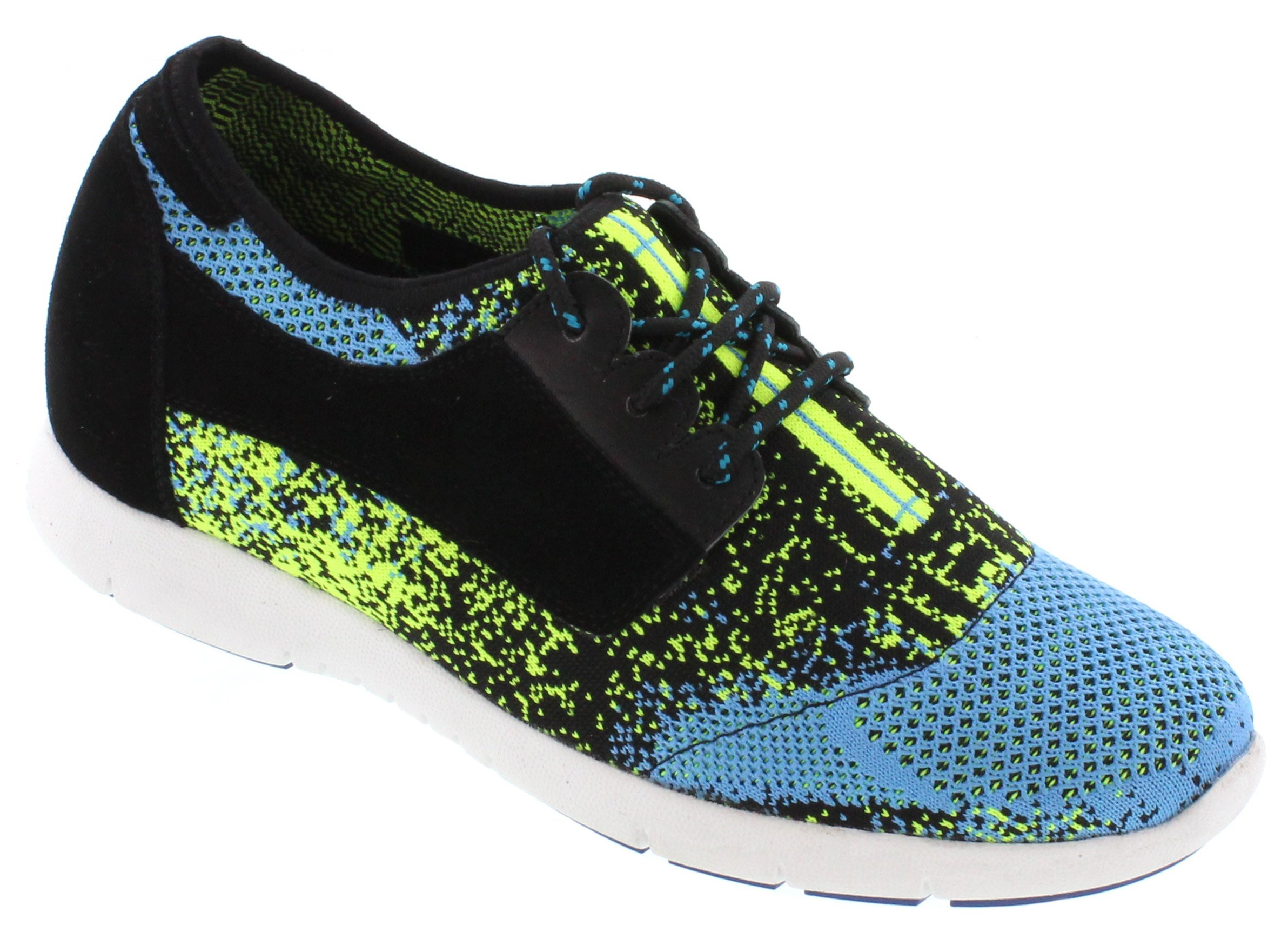 Toto D62106-2.8 inches Taller - Size 10 D US - Height Increasing Elevator Shoes - Neon/Black/Blue Lace-up Super Lightweight Sneaker