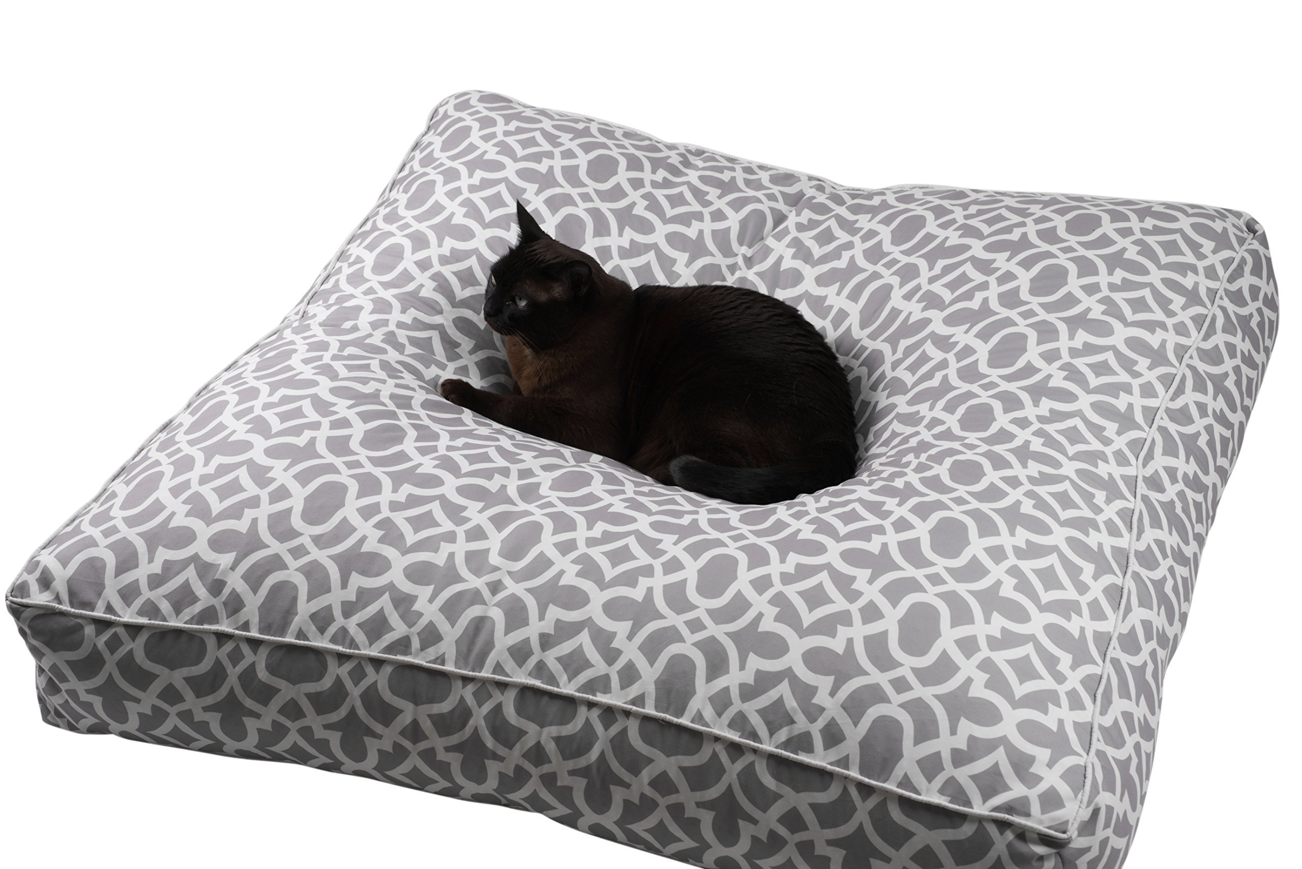 Large Floor Pillow Cover,Throw Cushion (insert not included), Oversized Waterproof Pool Seating Living Room Decor, Dog Cat Bed Ottoman Yoga Meditation Indoor Outdoor Pouf Beige and White 88x88x15cm