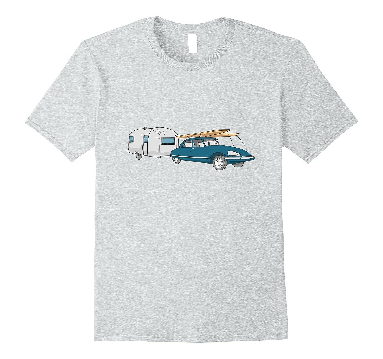 Vintage Retro Midcentury Silver Trailer Camper T-shirt-Vaci