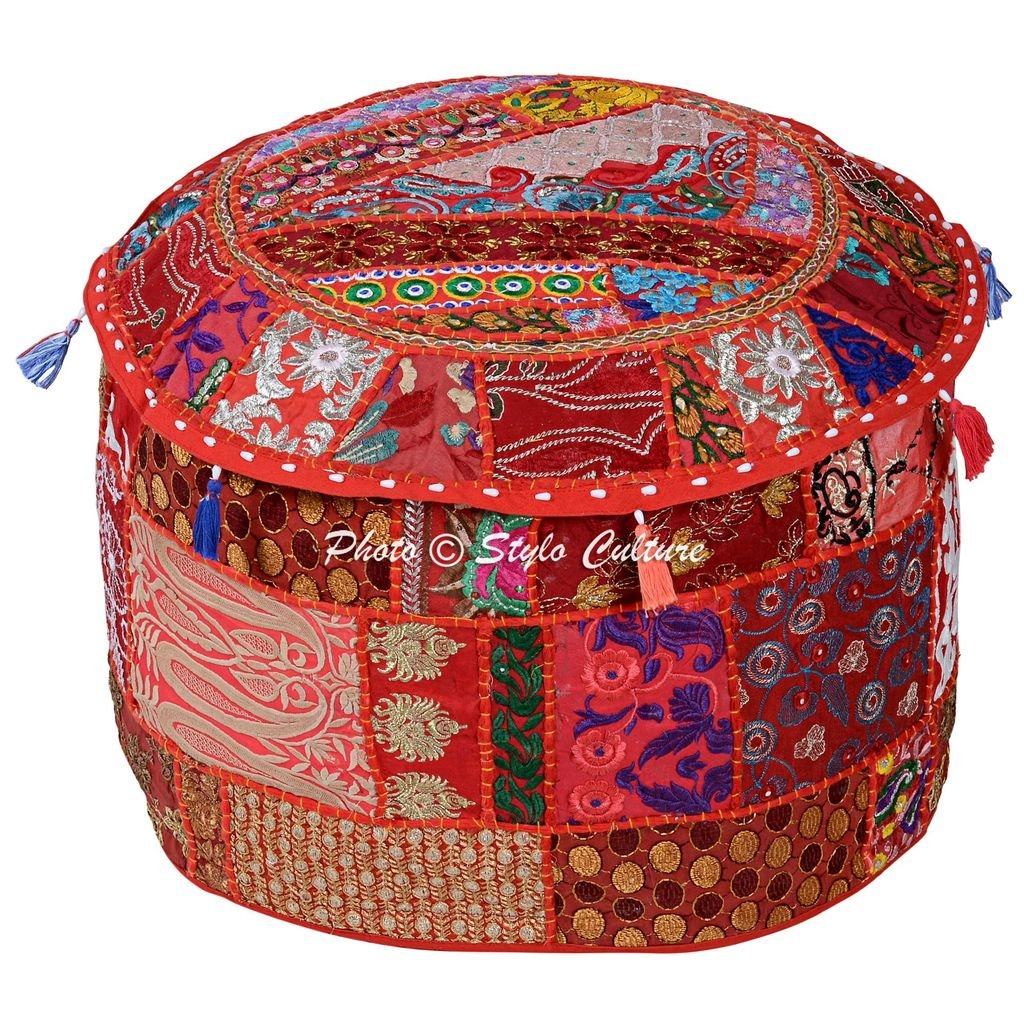 Stylo Culture Cotton Vintage Patchwork Embroidered Embellished Ottoman Stool Pouf Cover Red Floral Round Footstool Floor Cushion Cover Ethnic Decor