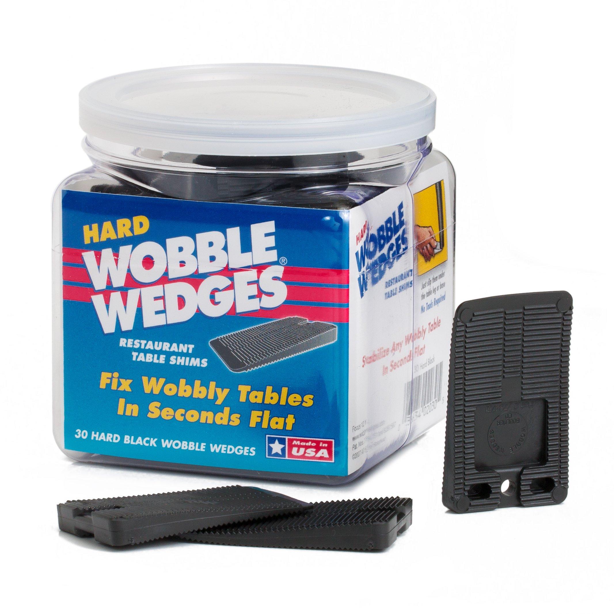 Wobble Wedge - Hard Black - Restaurant Table Shims - 30 Piece Jar by WOBBLE WEDGES