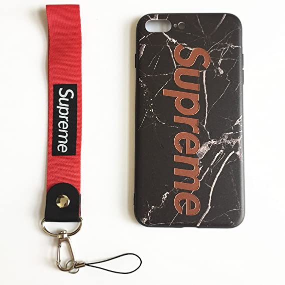 finest selection 6749f 8e326 Welllfun Supreme Black Case Hard Case Cover with Soft Wrist Lanyard  Compatible with iPhone 7 Plus and iPhone 8 Plus (Black)