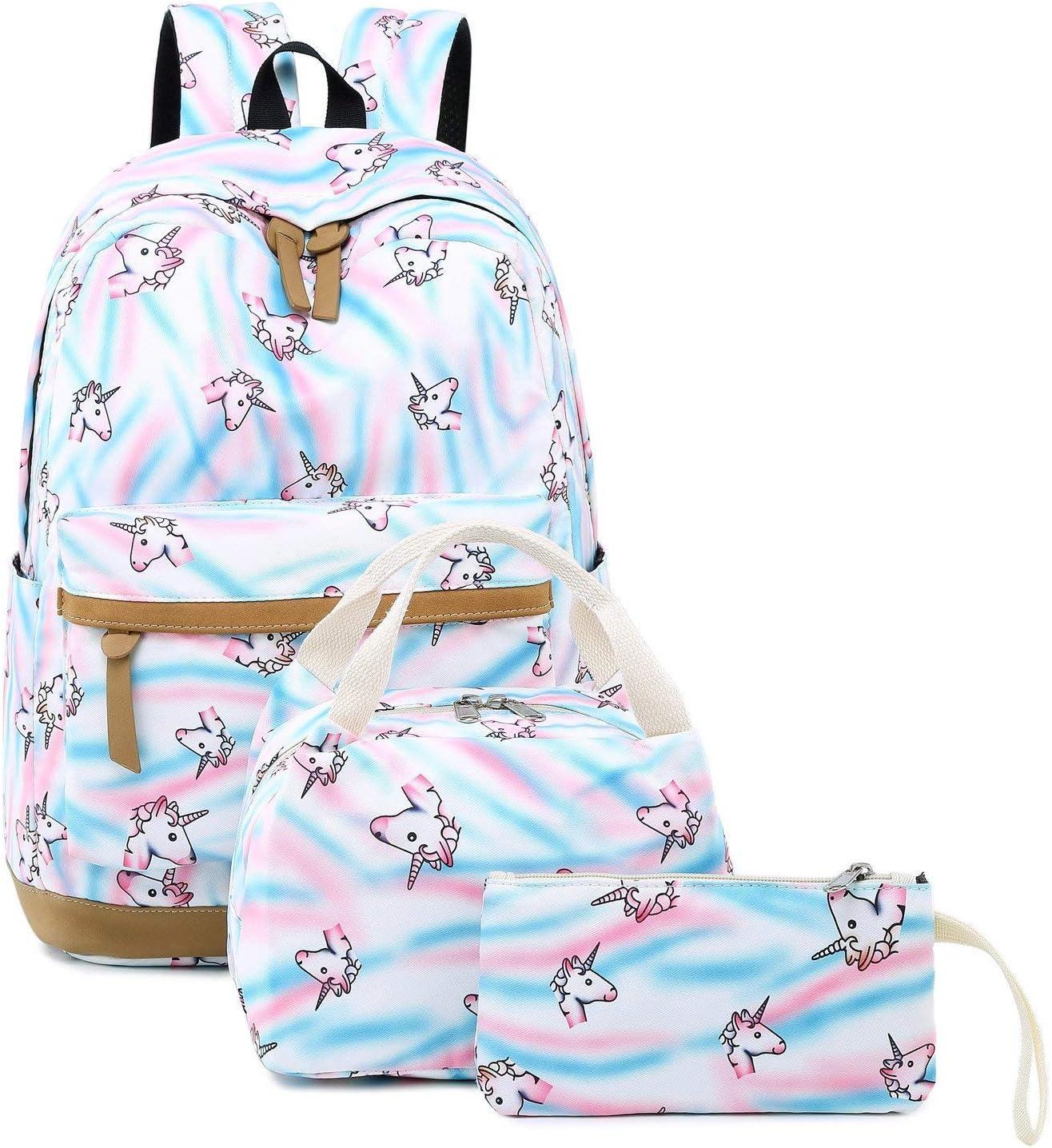 Girls Unicorn Backpacks Students School Bags Kids Bookbags Set Teens Shoulder Bags and Lunch Tote Bag Pencil Case (Unicorn Set)