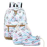 Girls Unicorn Backpacks Students School Bags Kids Bookbags Set Teens Shoulder Bags...