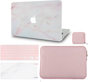 LuvCase 5in1 Laptop Case for MacBook Air 13 Inch (2020) A2179 Retina Display (Touch ID) Hard Shell Cover, Slim Sleeve, Pouch, Keyboard Cover & Screen Protector (Pink Marble)