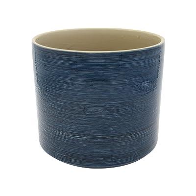 "Stone & Beam 100% Stoneware Planter, 7.87""H, Blue: Home & Kitchen"