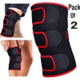 DURAFIT - KNEE BRACE - (Pack of 2) -Red Line NEOPRENE Knee Support - Open Patella with Adjustable stretchy hook and loop closure - Anatomically tailored Pads Surrounds the Knee cap -with Adjustable Strapping - Lightweight - Breathable - Non-Slip -Soft - Strong - Washable - Comfort Fit Knee Brace - Best For Arthritis, Sports, Exercise and Running - Men & Women Braces - Maximum support & more Natural movement
