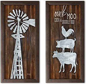 Gango Home Decor Country-Rustic Metal Windmill & Metal Farm Animal Stack by Marla Rae (Ready to Hang); Two 8x18in Brown Framed Prints