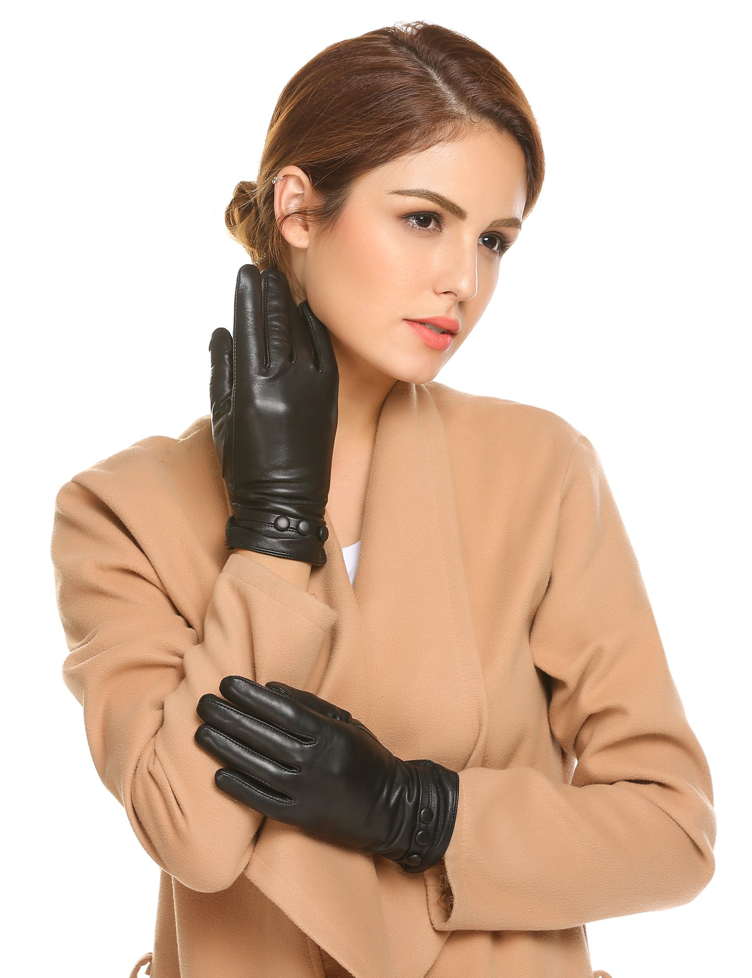 SHINE Women's Touchscreen Texting Genuine Leather Glove Winter Warm Simple Plain Cashmere Lined Gloves