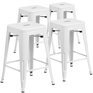 Flash Furniture 4 Pk. 24'' High Backless White Metal Indoor-Outdoor Counter Height Stool with Square Seat