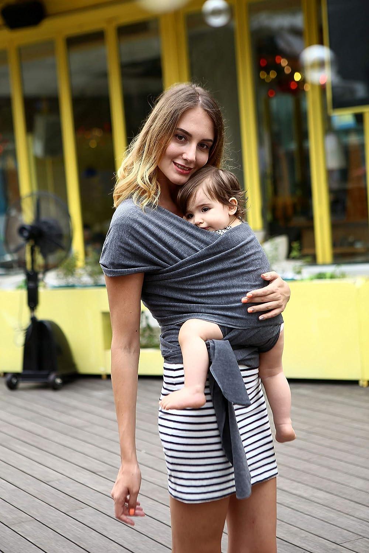 Babytragetuch - elastisches Tragetuch für Früh- und Neugeborene Kleinkinder - inkl. Baby Wrap Carrier Anleitung (gray) newroad