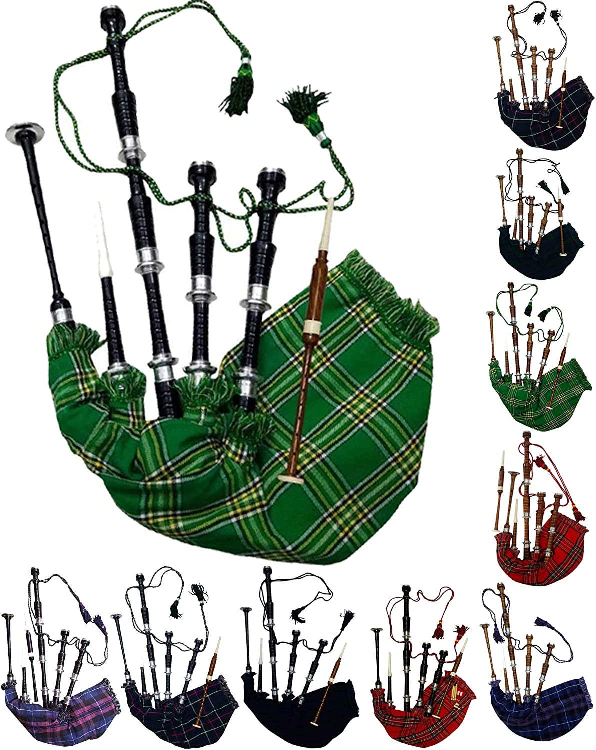 Scottish Full Size Bagpipe Rosewood or Black Finish with Silver Plain Mounts Free Tutor Book, Carrying Bag, Drone, Reeds