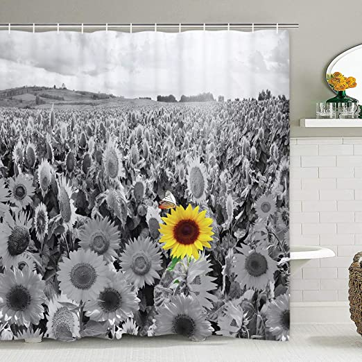 Waterproof Art Sunflower Shower Curtain Bathroom Decor Shower Curtain with Hooks
