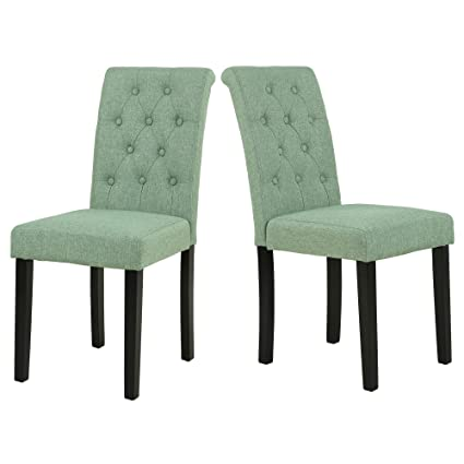 LSSBOUGHT Button-tufted Upholstered Fabric Dining Chairs with Solid Wood Legs Set of 2  sc 1 st  Amazon.com & Amazon.com - LSSBOUGHT Button-tufted Upholstered Fabric Dining ...