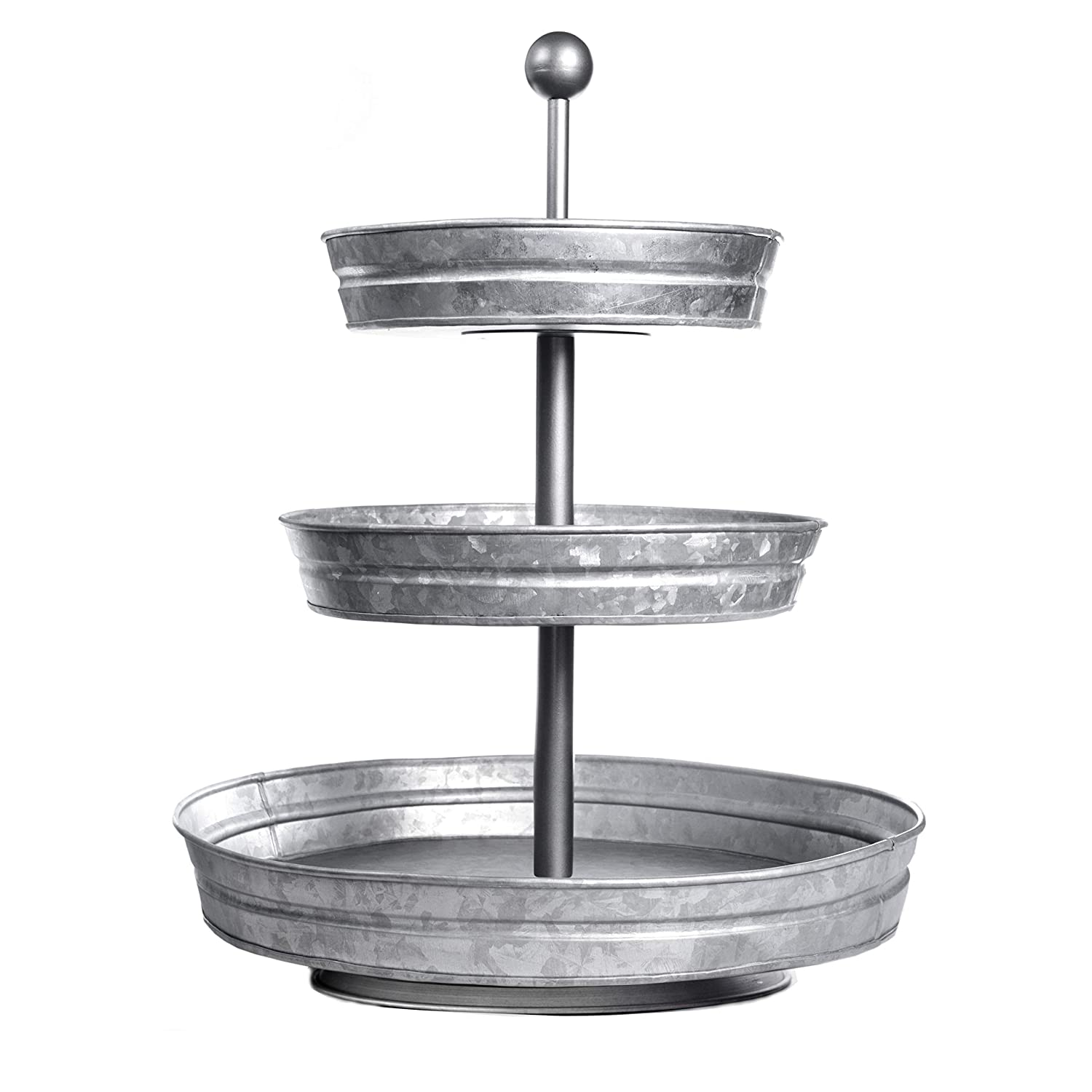 DELBRIO - 3-Tiered Serving Tray (Large) Rustic, Decorative Galvanized Metal | Home Farmhouse Décor & Display Stand | Coffee, Margarita Bar, Party Appetizers, Cupcake Stand | Indoor, Outdoor Use