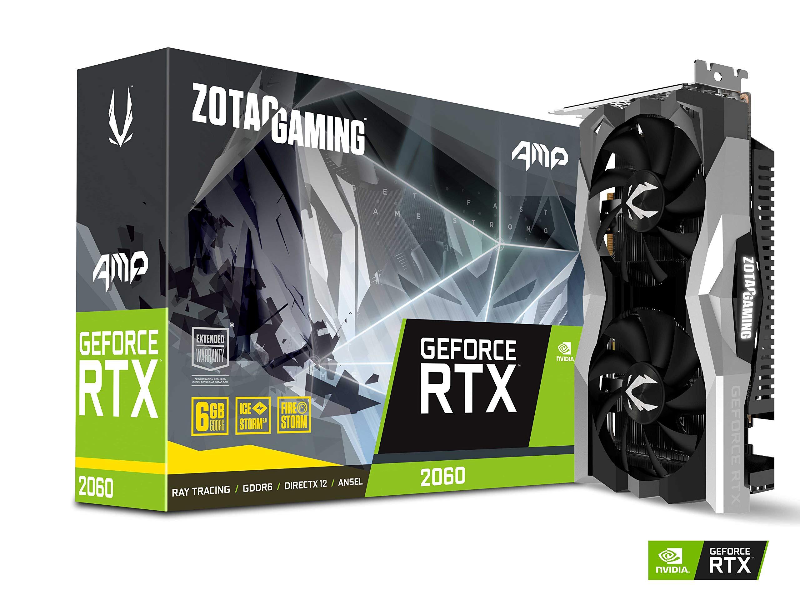 ZOTAC GAMING GeForce RTX 2060 AMP 6GB GDDR6 192-bit Gaming Graphics Card, Super Compact, IceStorm 2.0, ZT-T20600D-10M by ZOTAC