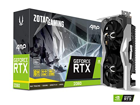 ZOTAC GAMING GeForce RTX 2060 AMP 6GB GDDR6 192-bit Gaming Graphics Card, Super Compact, IceStorm 2.0, ZT-T20600D-10M