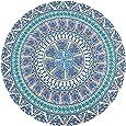 Beach Towel, Thin Round Mandala Tapestry Hippie Mandala Roundies, Round Beach Throw, Yoga Mat, Picnic Mat, Table Cover, Wall Hanging - Blue Green