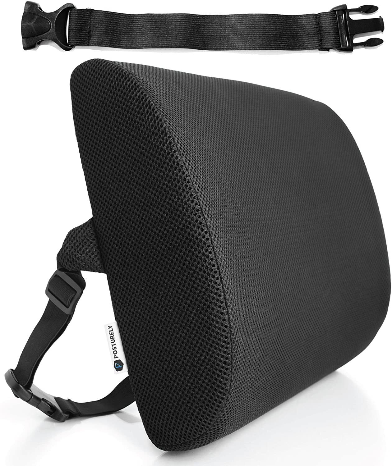 Posturely Any Seat Premium Memory Foam Lumbar Support Pillow for Car, Desk, Office Chair, Recliner for Lower Back Pain Relief | Bonus Extension Strap | Black Mesh (M)