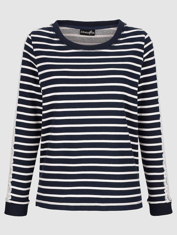 Dress in In Damen Sweatshirt Fuchsia Baumwolle Marineblau