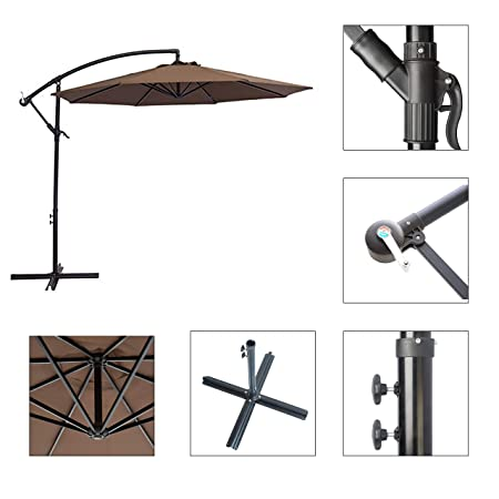 SUNNYARD 10 Ft Cantilever Patio Umbrella Outdoor Offset Hanging Umbrella, 8 Ribs,Coffee