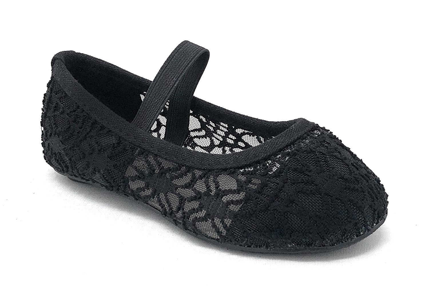 Simply Petals Little Girl's Toddlers Breathable Crochet Cute Lace Ballet Flat in Black Size: 7
