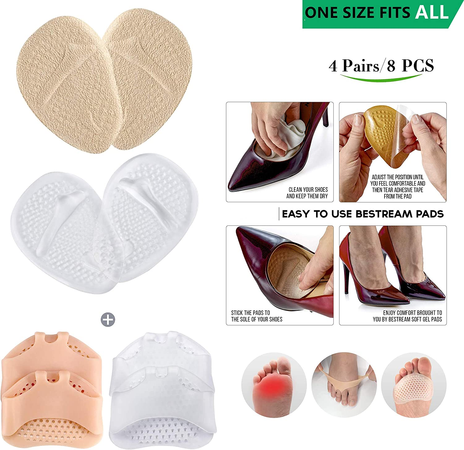 - Metarsal Ball of Foot Pads 4 Pair Foot Pads /– 8PCS 2 Colors - Dark Beige and Transparent Ball of Foot Cushion All Day Pain Relief and Comfort One Size Fits Shoe Metatarsal Pads for Women /& Men