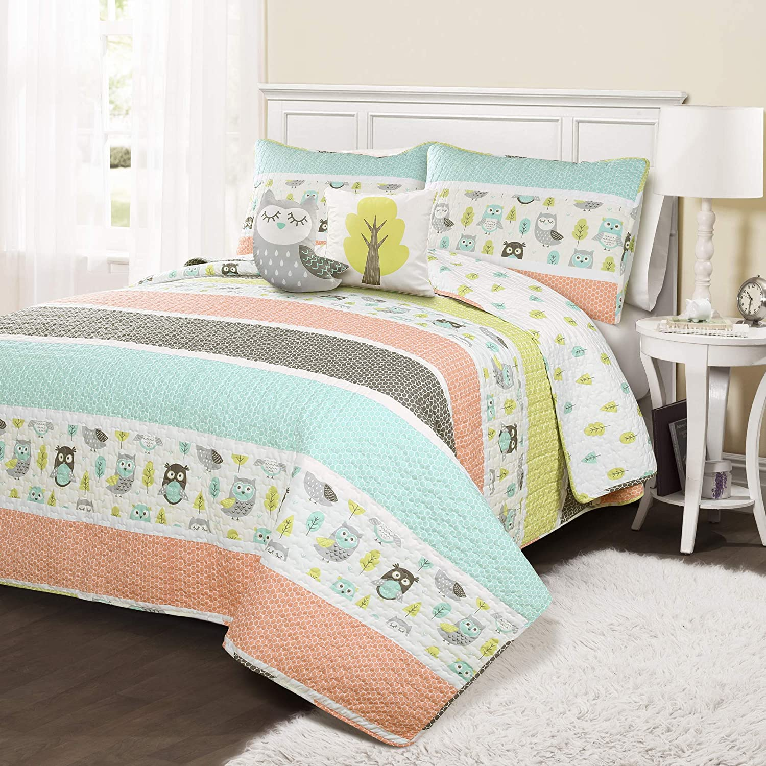 Lush Decor Owl Stripe 5 Piece Quilt Set, Full/Queen, Coral & Turquoise