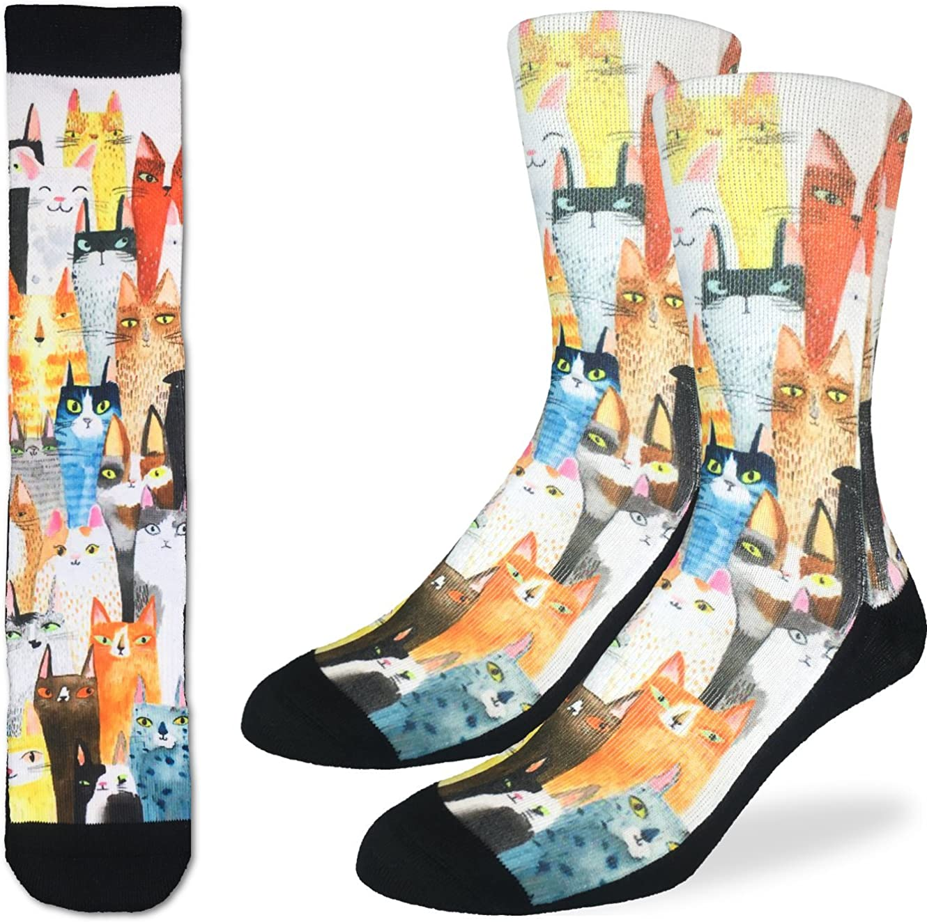 Cat Party Adult Novelty Socks Good Luck Sock Cats Crew Casual Black Footwear