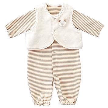 ツーウェイドレス 赤ちゃんの城 アイボリー ベビー ベルナチュール・ベスト付 新生児 秋冬用 日本製 50~70